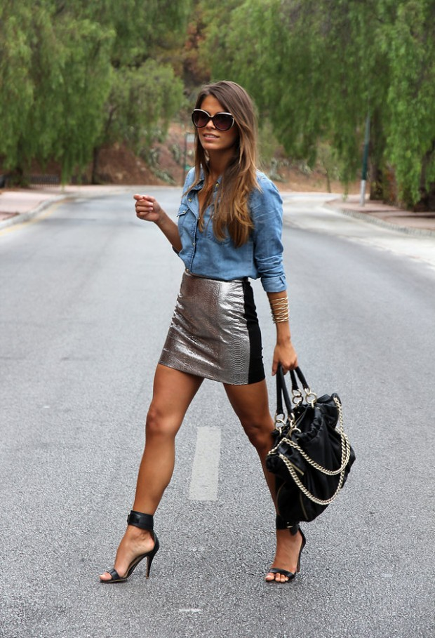 20 Stylish Outfit Ideas with Denim Shirt (16)