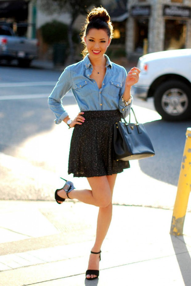 20 Stylish Outfit Ideas with Denim Shirt (18)