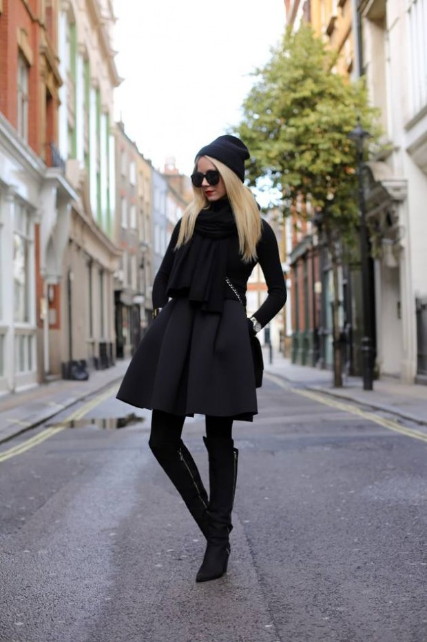 20 Stylish Outfits with Dresses for Cold Days  (2)