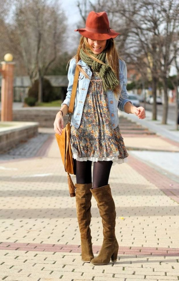 20 Stylish Outfits with Dresses for Cold Days  (8)