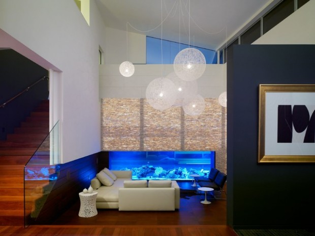24 original ideas with aquarium in home interior style for Aquarium interior designs pictures
