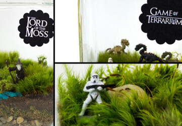 27 Small and Cute Themed Terrariums - theme, terrarium, star wars, spring, small, sheep, rocks, Natural, moss, miniature, lord of the rings, lively, live, lawn, Jurassic Park, jar, hunger games, green, grass, glass, E.T., decoration, decor, Cute, cow