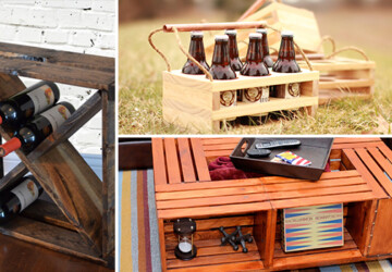 16 Handy DIY Projects From Old Wooden Crates - wooden, wine, table, shelves, shelf, rustic, rack, project, old, handy, handmade, handcrafted, glass, Easy, drawer, diy, desk, crate