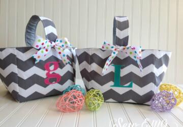 17 Adorable Handmade Easter Basket Designs - tote, personalized, monogrammed, kids, handmade, fabric, eggs, Easter, diy, decoration, chevron, basket, bag