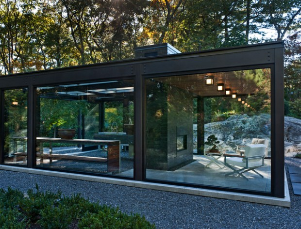 18 modern glass house exterior designs style motivation. Black Bedroom Furniture Sets. Home Design Ideas
