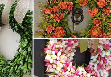 18 Fresh-Looking Handmade Spring Wreath Ideas - wreath, wood, tulip, spring, rose, nature, Natural, monogram, hang, handmade, grapevine, Flower, door, decor, chevron, burlap, bunny, boxwood, bow