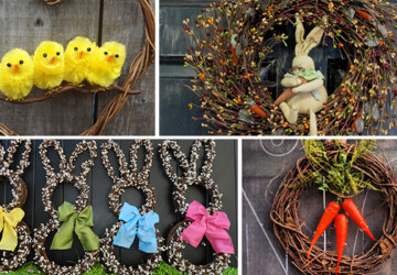 26 Creative and Easy Handmade Easter Wreath Designs - wreath, spring, shabby, rustic, rabbit, holiday, hanging, hanger, handmade, grapevine, egg, Easter, door, decoration, chic, carrot, burlap, bunny