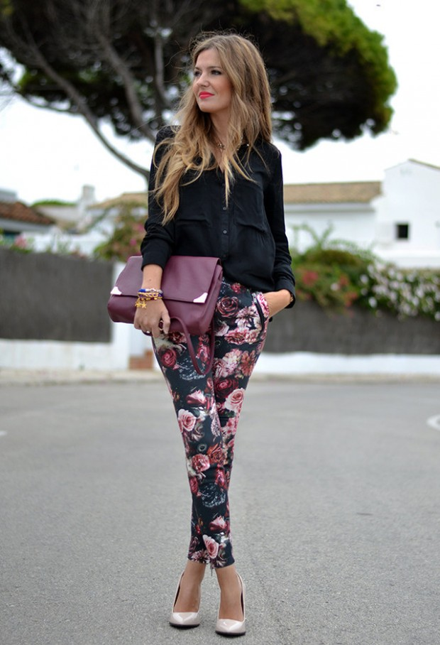17 Amazing Outfit Ideas with Floral Pants (9)