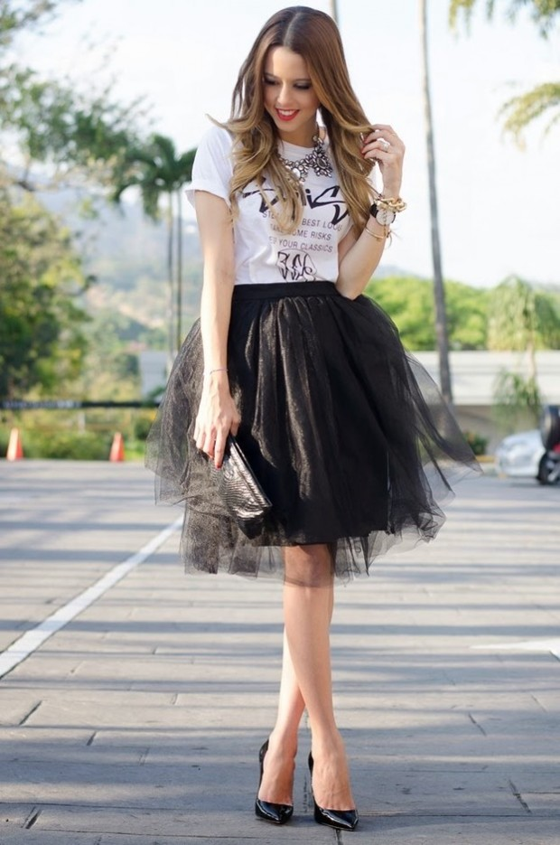 17 Outfit Ideas with Tulle Skirts for Romantic Look (9)
