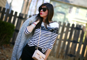 22 Dynamic Combinations of Black & White Stripes - stripes outfit ideas, stripes outfit, spring outfit for woman, outfit for woman, black and white stripes