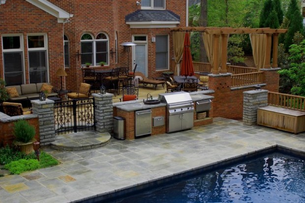 18 amazing patio design ideas with outdoor barbecue for Outdoor kitchen bbq designs