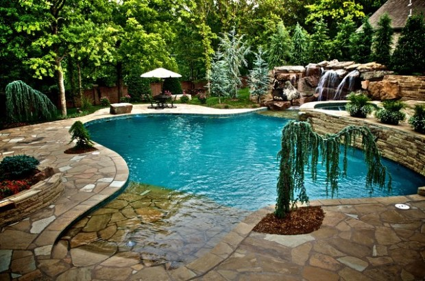luxury in ground swimming pool and patio design ideas and