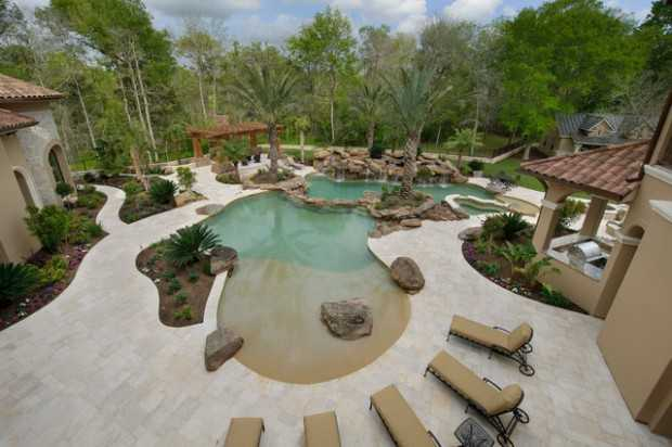 18 divine beach entry pool design ideas for heaven in your for Beach garden designs