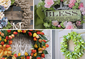 22 Enlivening Handmade Spring Wreath Designs - wreath, tulip, summer, Succulent, spring, personalized, monogram, hydrangea, hanger, handmade, grapevine, Flower, floral, felt, fabric, door, chevron, butterfly, burlap, boxwood, bow
