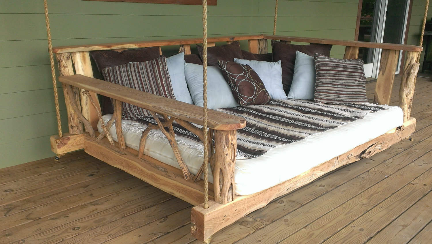 15 custom handcrafted porch swing designs style motivation for Diy patio bed