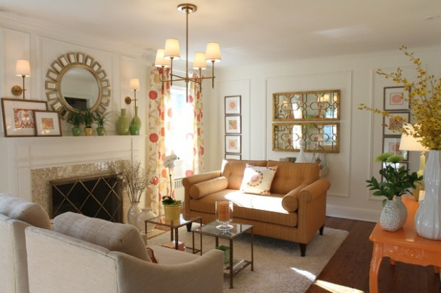 17 beautiful living room decorating ideas with wall for Mirrors for living room walls
