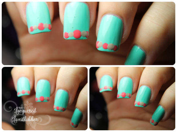Mix Of Turquoise And Coral Colors For Adorable Summer Nail