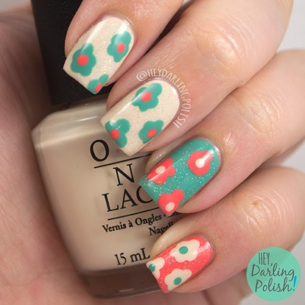 Mix of Turquoise and Coral Colors for Adorable Summer Nail Art