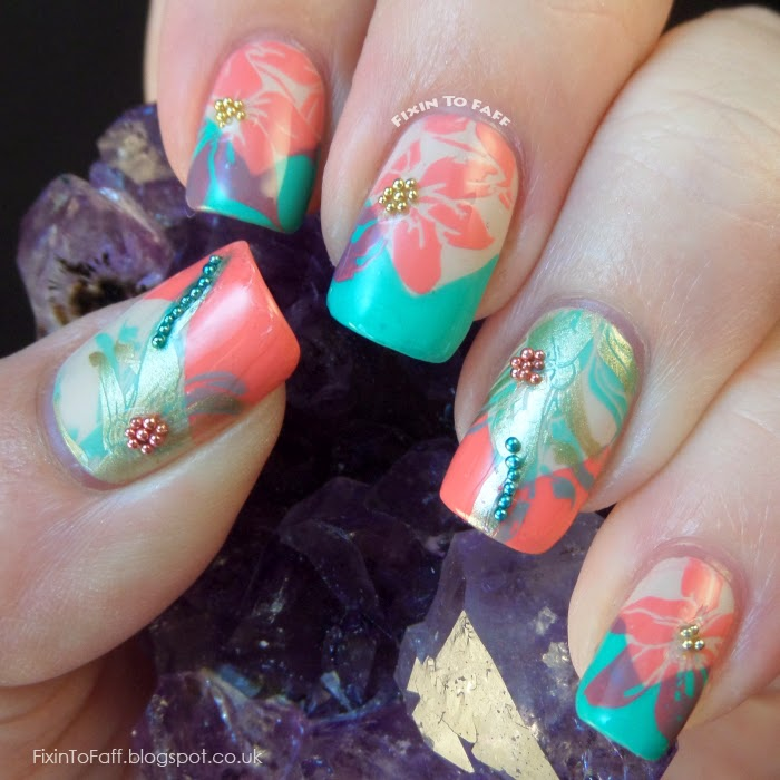Coral Color Nail Designs: Mix Of Turquoise And Coral Colors For Adorable Summer Nail