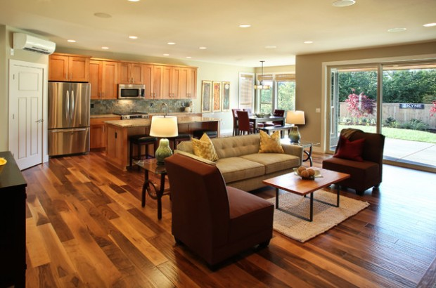 17 open concept kitchen living room design ideas style - Flooring ideas for living room and kitchen ...