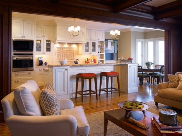 Open Concept Kitchen Living Room Living Room Transitional With