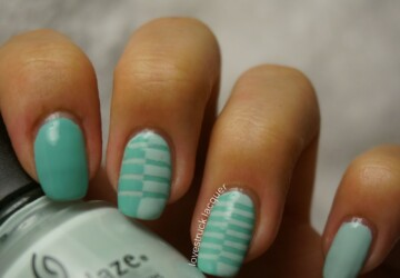 17 Super Cute Mint Nail Art Ideas for Summer  - summer nail design, summer nail art, Nail Art, mint nail polish, mint nail art, mint color, mint