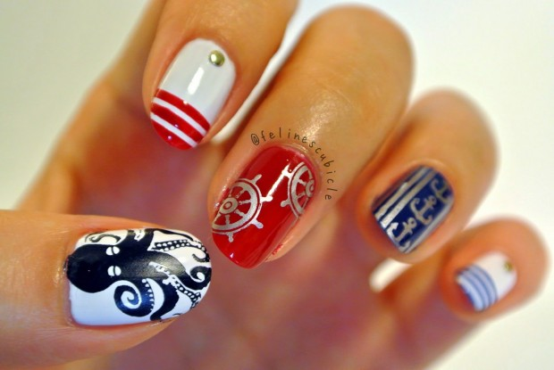 Nautical Nails: 16 Cute Nail Art Ideas - Style Motivation