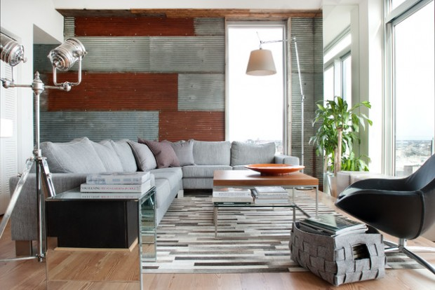 19 urban living room design ideas in industrial style for Industrial living room ideas