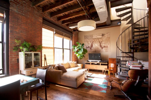 19 urban living room design ideas in industrial style for Living room ideas urban