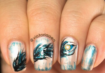 18 Super Cute and Simple Feather Nail Art Ideas - simple nail art, nail design, nail art ideas, feather nail art, cute nail art