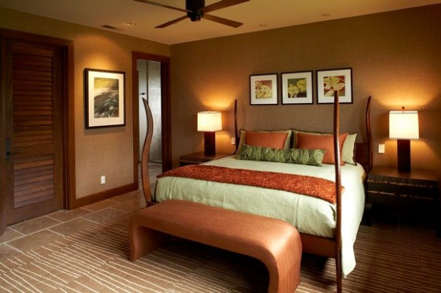 Caramel color details for sophisticated bedroom look Sophisticated paint colors for living room