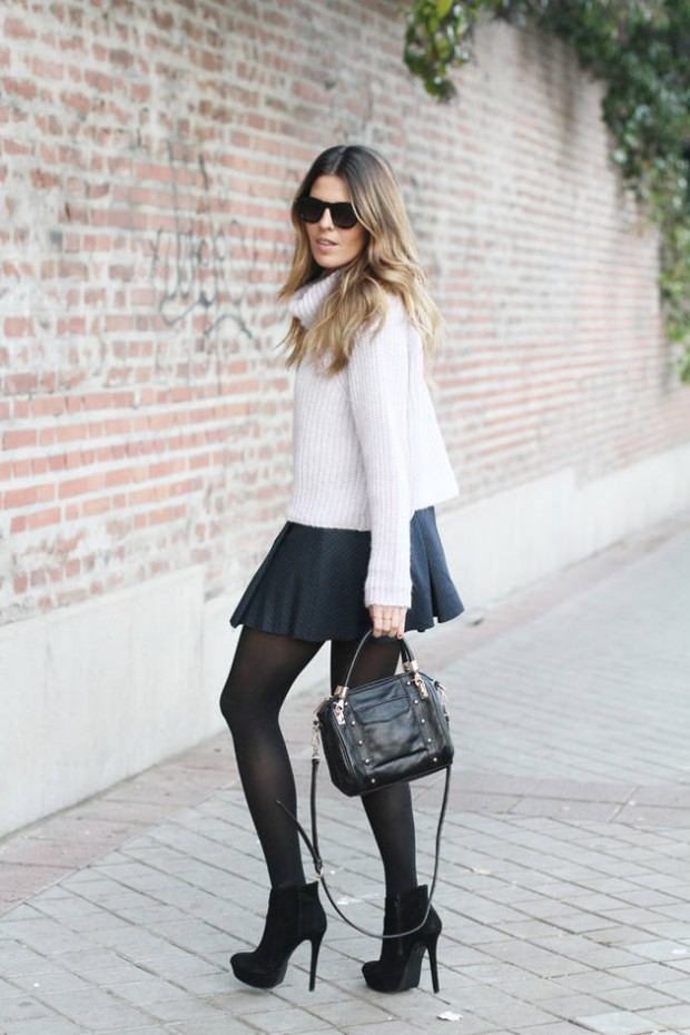 22 Chic Sweater and Skirt Street Style Combinations for