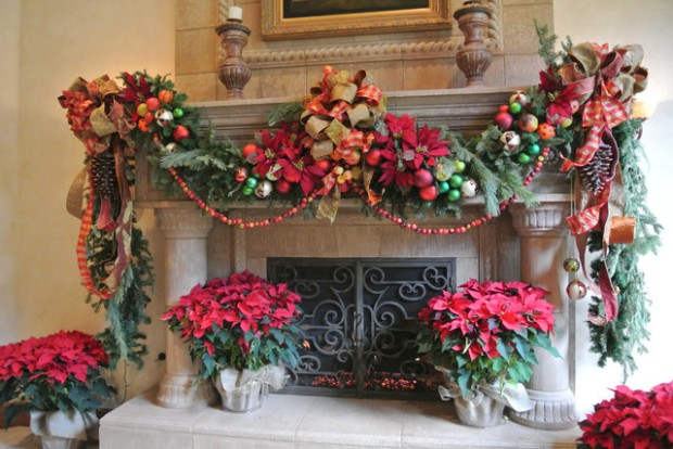 26 Gorgeous Fireplace Mantel Decoration Ideas for Christmas