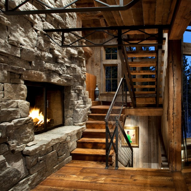 20 amazing fireplace design ideas for cozy rustic for Cabin fireplace pictures