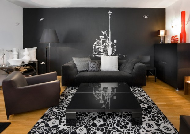 Mysterious, Dark, Dramatic   20 Exquisite Black Wall Living Room Ideas