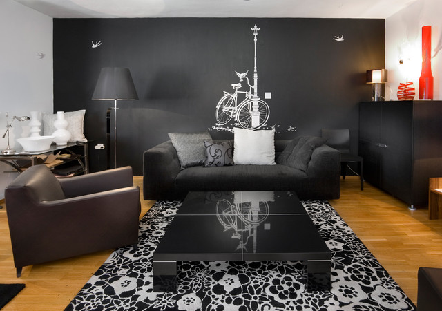 Mysterious Dark Dramatic 20 Exquisite Black Wall Living Room Ideas