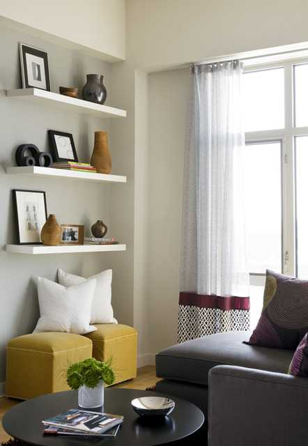 How to decorate your living room with floating shelves - Shelves design for living room ...