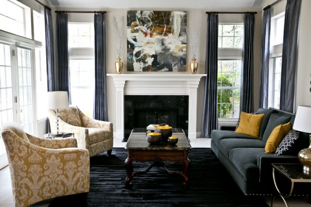 18 Extravagant Living Rooms with Golden Tone Details