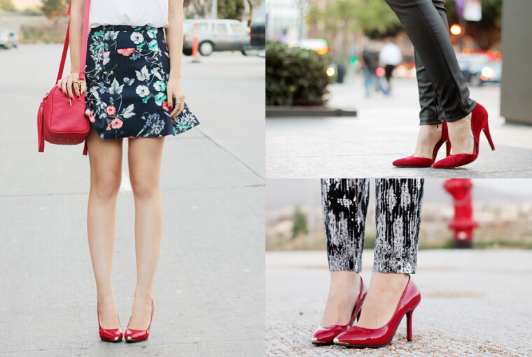 Red High Heels- 20 Stylish Ideas How to Wear Them - shoe trend, red high heels, red, pumps shoes, Outfit ideas, how to wear, High heels