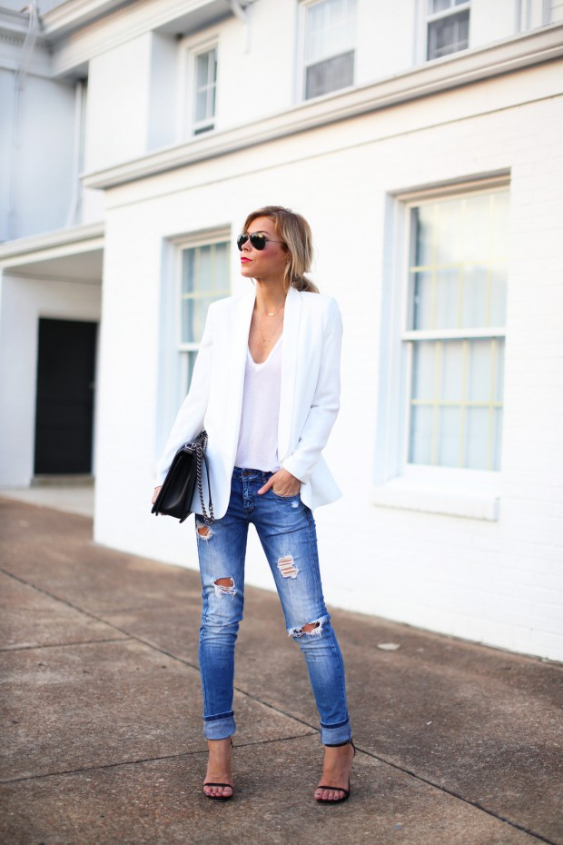 How To Dress Up a V Neck Tee 15 Outfit Ideas