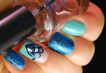 Nail Art Ideas In Every Shade of Blue – 20 Gorgeous Nail Designs - nail design, nail art ideas, blue nail polish, blue nail art ideas, blue, baby blue color trend