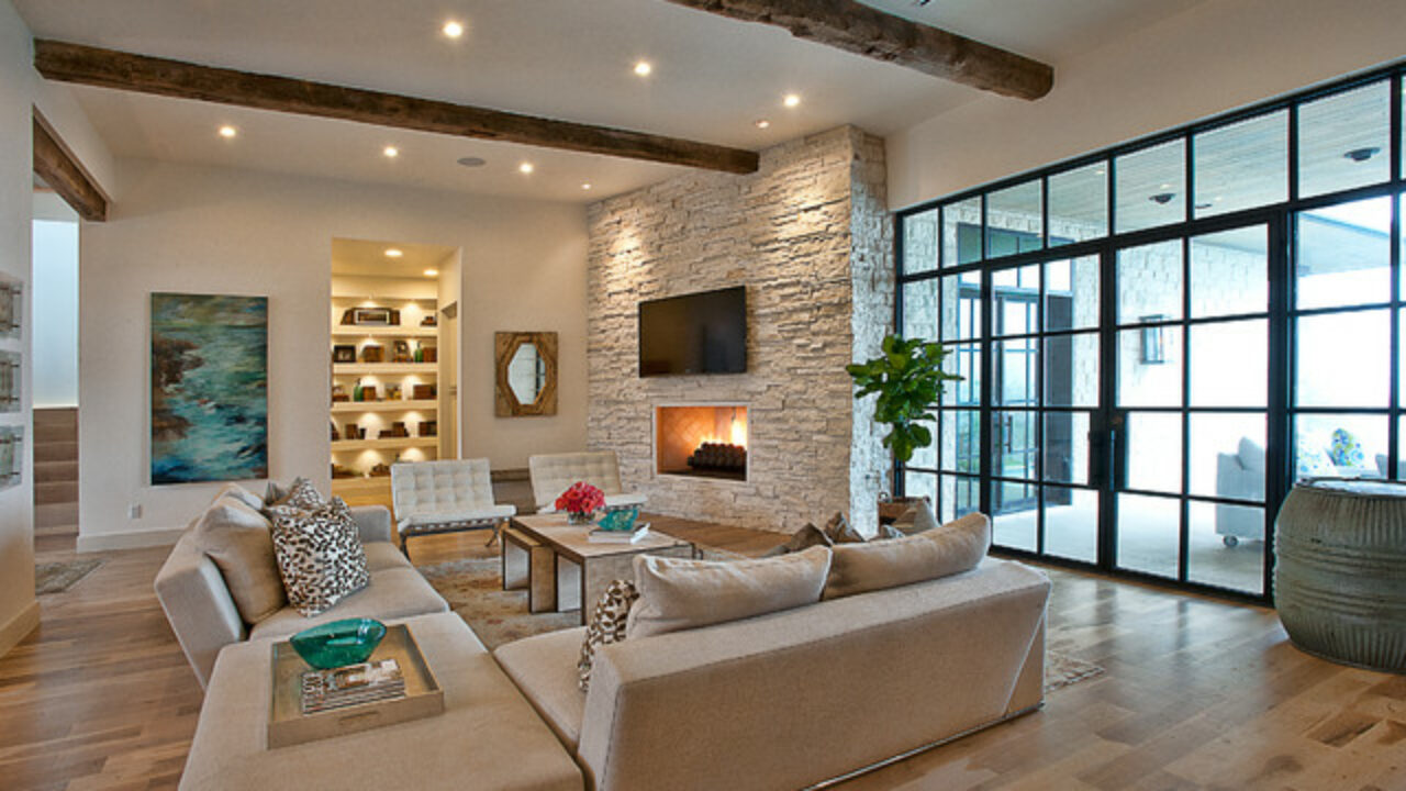 16 Divine Living Room Design Ideas with Exposed Stone Wall ...