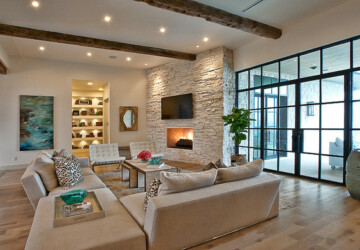 16 Divine Living Room Design Ideas with Exposed Stone Wall - stone wall living room, stone wall, living room design ideas