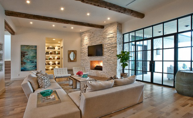 16 divine living room design ideas with exposed stone wall style motivation for Idee per arredare casa piccola