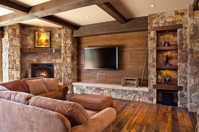 16 Divine Living Room Design Ideas with Exposed Stone Wall