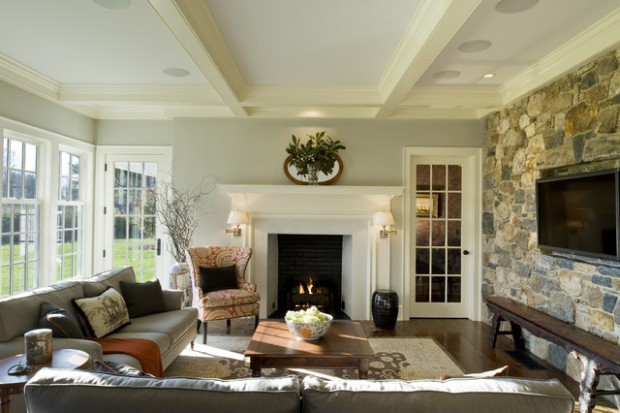 16 Divine Living Room Design Ideas With Exposed Stone Wall Style Motivation