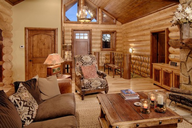 21 rustic log cabin interior design ideas style motivation for Small office cabin interior design ideas