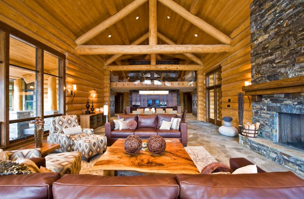 21 rustic log cabin interior design ideas style motivation for Interior designs for log homes