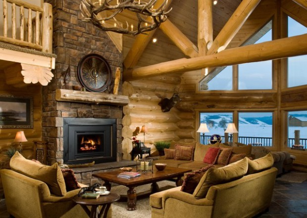 21 rustic log cabin interior design ideas style motivation for Small log cabin interior design ideas
