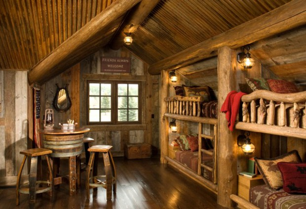 Log Cabin Design Ideas fabulous log home interior decorating idea for living room with brown sofas brown table 21 Rustic Log Cabin Interior Design Ideas